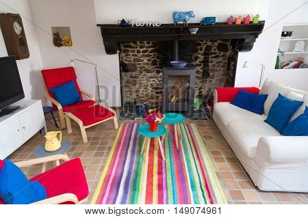 Interior of a colorful French house