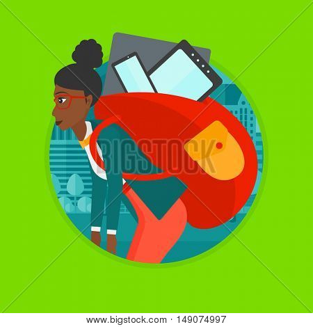 An african-american woman walking with backpack full of different devices. Woman walking with many electronic devices in the city. Vector flat design illustration in the circle isolated on background.
