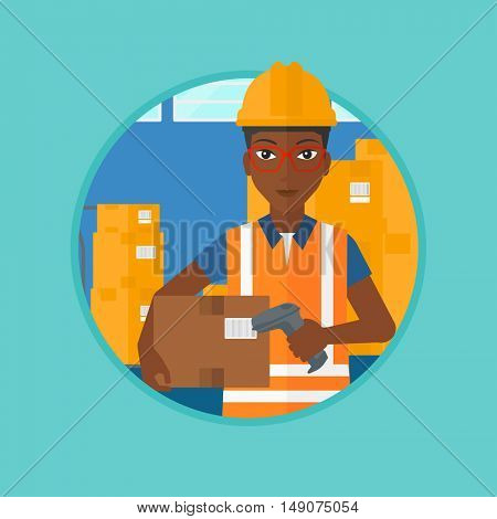 An african-american warehouse worker scanning barcode on box. Worker checking barcode of box with a scanner. Warehouse worker in hard hat with scanner. Vector flat design illustration in the circle.