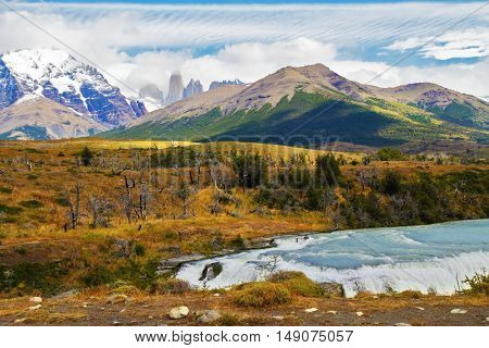 Scenic National Park in southern Chile.  River and waterfall