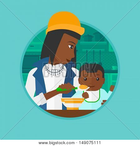 An african-american mother feeding baby boy at home. Woman teaching son to eat with spoon. Mother spoon-feeding baby at kitchen. Vector flat design illustration in the circle isolated on background.
