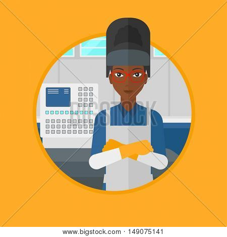 An african welder standing at factory workshop. Industrial worker with arms crossed standing on the background of control panel. Vector flat design illustration in the circle isolated on background.