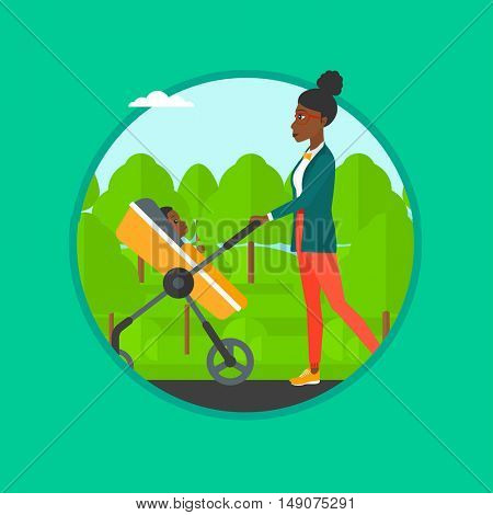 An african-american mother walking with baby stroller in park. Mother walking with baby in stroller. Mother pushing baby stroller. Vector flat design illustration in the circle isolated on background.
