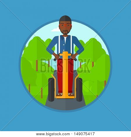 An african-american man driving electric scooter in the park. Man riding on modern self-balancing electric scooter with two wheels. Vector flat design illustration in the circle isolated on background