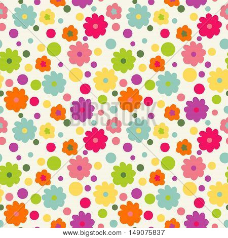 Cute babyish pattern. Seamless wallpaper with flowers
