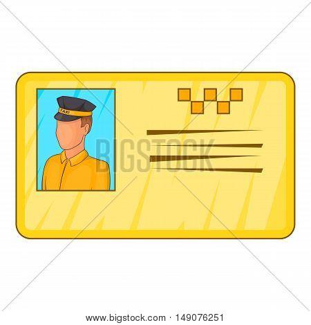 Document taxi driver icon in cartoon style isolated on white background. License symbol vector illustration