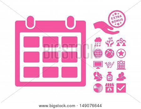 Calendar pictograph with bonus symbols. Vector illustration style is flat iconic symbols pink color white background.