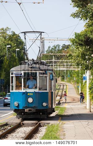 TRIESTE ITALY - JULY 22: Trieste to Opicina tram on JULY 22 2016. Tramway Public Transport in Trieste Italy.