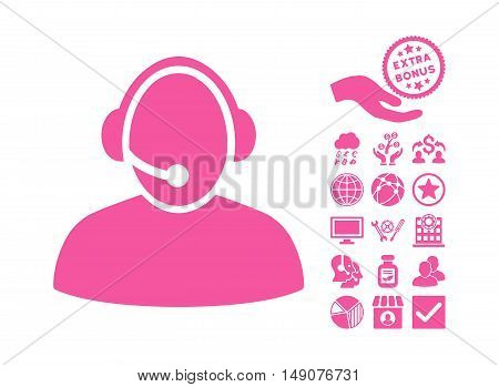 Call Center pictograph with bonus images. Vector illustration style is flat iconic symbols pink color white background.