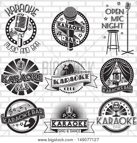 Karaoke vector labels design. Bar and club badges