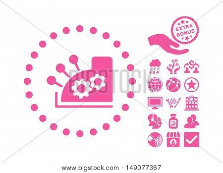 Cash Register pictograph with bonus images. Vector illustration style is flat iconic symbols pink color white background.