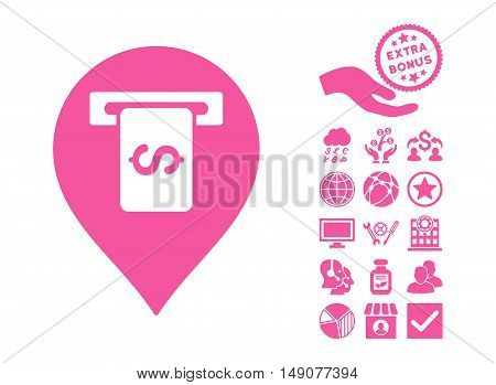 Cash Terminal Pointer pictograph with bonus clip art. Vector illustration style is flat iconic symbols pink color white background.