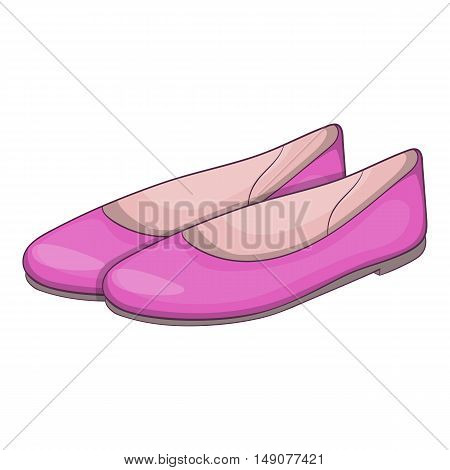 Womens flat shoes icon in cartoon style isolated on white background. Wear symbol vector illustration