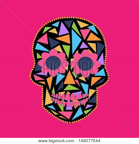 Skull vector background triangle pink and black
