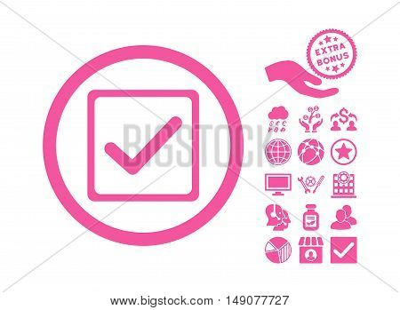 Checkbox icon with bonus design elements. Vector illustration style is flat iconic symbols pink color white background.