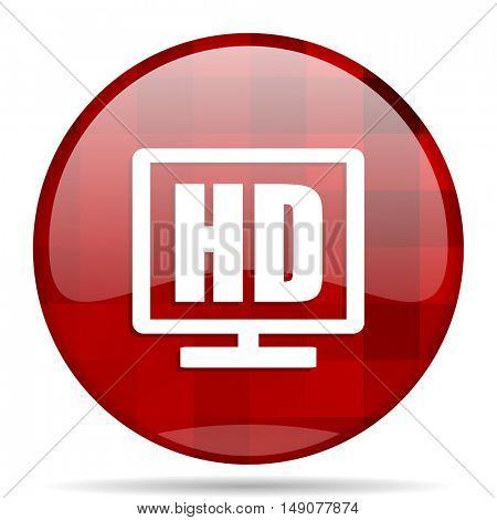 hd display red round glossy modern design web icon