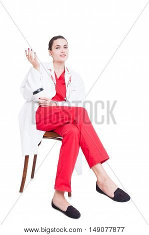 Beautiful Medic Sitting And Relaxing
