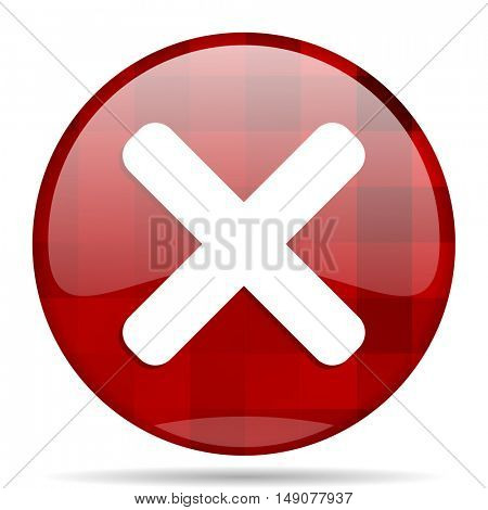 cancel red round glossy modern design web icon