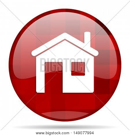 house red round glossy modern design web icon