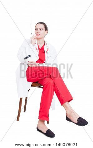Relaxation Concept With Woman Medic Drinking Coffee
