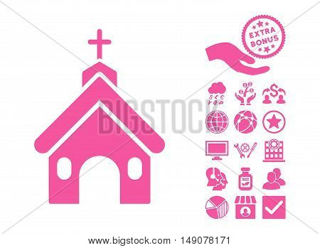 Church pictograph with bonus pictogram. Vector illustration style is flat iconic symbols pink color white background.