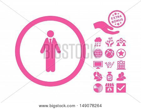 Clerk pictograph with bonus pictogram. Vector illustration style is flat iconic symbols pink color white background.