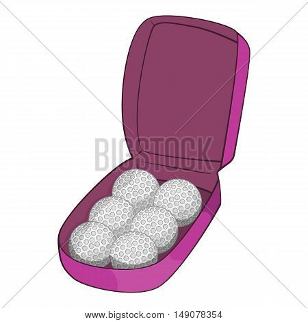 Bag for golf balls icon in cartoon style isolated on white background. Game symbol vector illustration