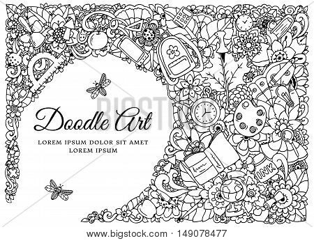Vector illustration , frame with school supplies. Back to school. Doodle drawing. Meditative exercise. Coloring book anti stress for adults. Black and white.