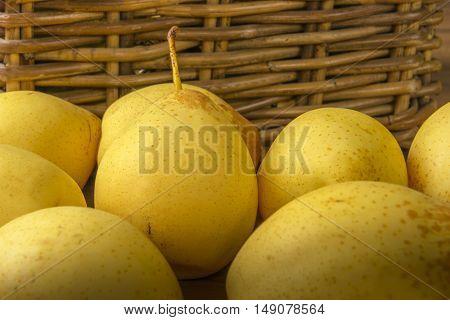 Fruit. Fresh organic pears. Pear autumn harvest