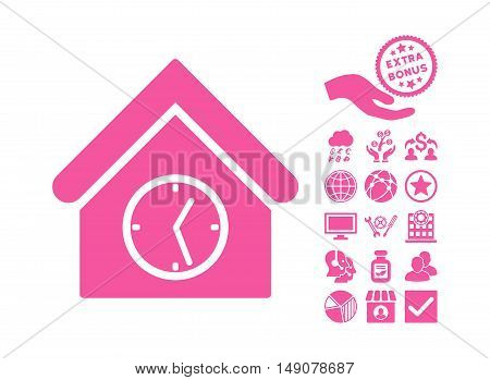 Clock Building icon with bonus clip art. Vector illustration style is flat iconic symbols pink color white background.