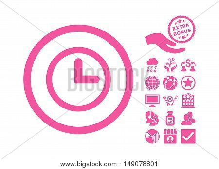 Clock pictograph with bonus pictograph collection. Vector illustration style is flat iconic symbols pink color white background.
