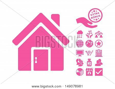 Closed House Door icon with bonus pictograph collection. Vector illustration style is flat iconic symbols pink color white background.