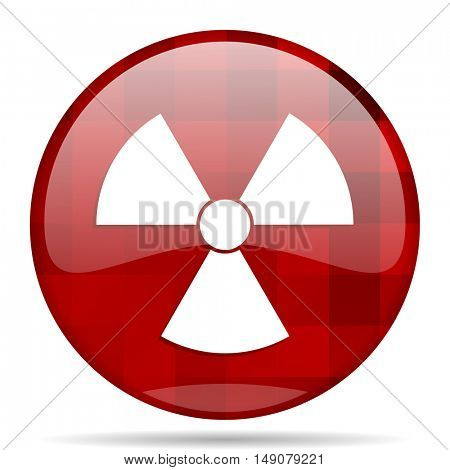 radiation red round glossy modern design web icon