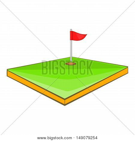 Golf course icon in cartoon style isolated on white background. Sport symbol vector illustration