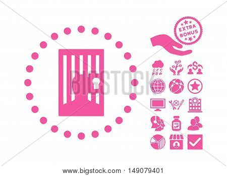 Closed Prisoner pictograph with bonus pictograph collection. Vector illustration style is flat iconic symbols pink color white background.