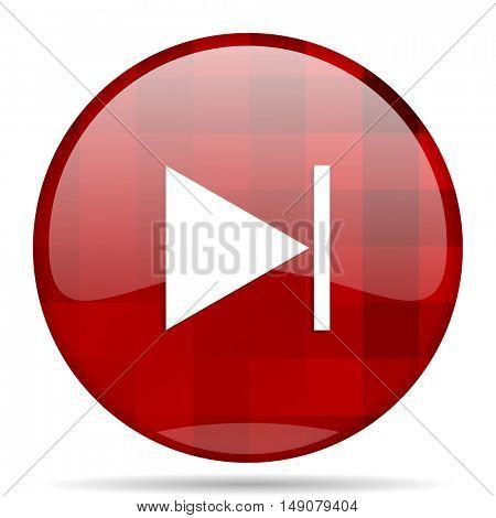 next red round glossy modern design web icon