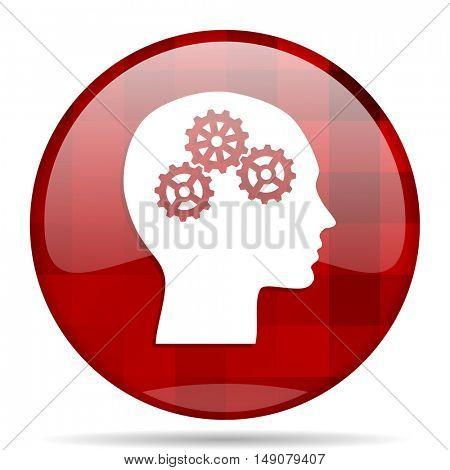 head red round glossy modern design web icon