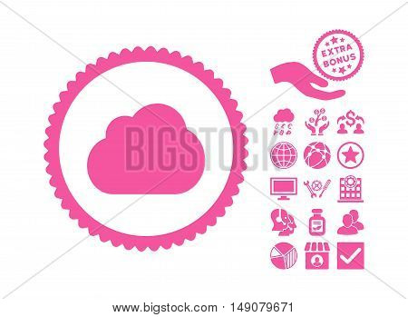 Cloud pictograph with bonus pictogram. Vector illustration style is flat iconic symbols pink color white background.