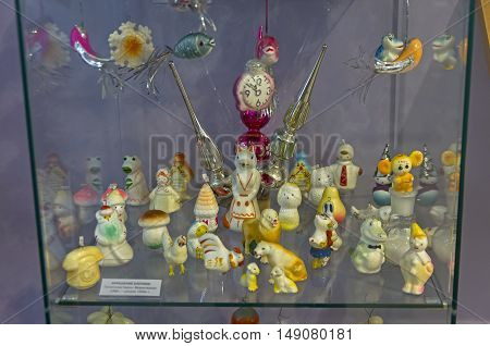 KLIN RUSSIA - JANUARY 16 2016: Christmas toys in the form of characters from fairy tales and cartoons. Museum of Christmas toys.