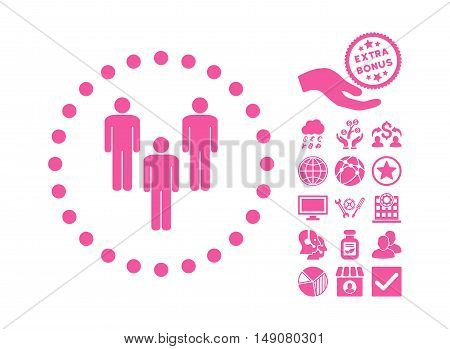 Community icon with bonus images. Vector illustration style is flat iconic symbols pink color white background.