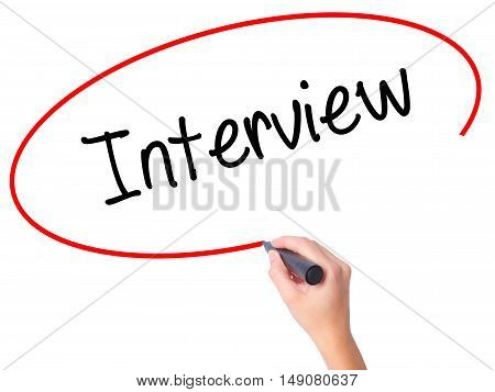 Women Hand Writing Interview With Black Marker On Visual Screen
