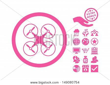 Copter icon with bonus symbols. Vector illustration style is flat iconic symbols pink color white background.