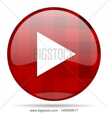 play red round glossy modern design web icon