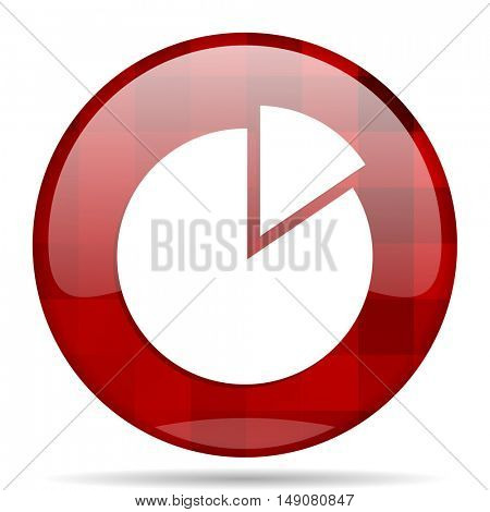 chart red round glossy modern design web icon