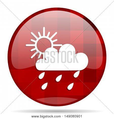 rain red round glossy modern design web icon