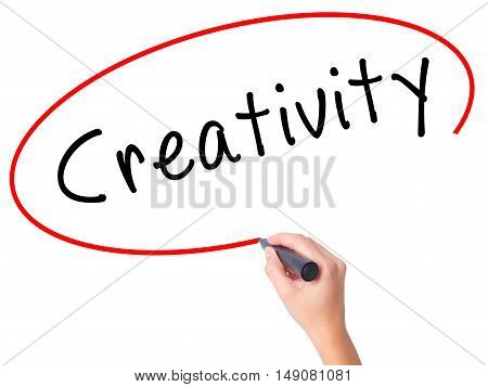 Women Hand Writing Creativity With Black Marker On Visual Screen