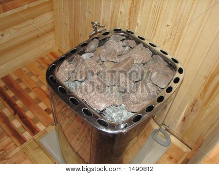 Classic Wooden Dry Sauna Inside Hot Stones To Make Steam