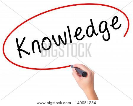 Women Hand Writing Knowledge With Black Marker On Visual Screen
