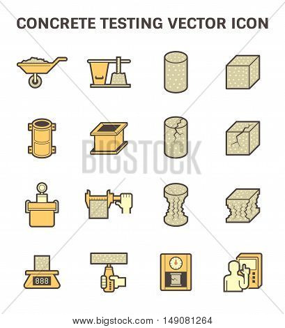 Concrete testing vector icon set design isolated on white background.