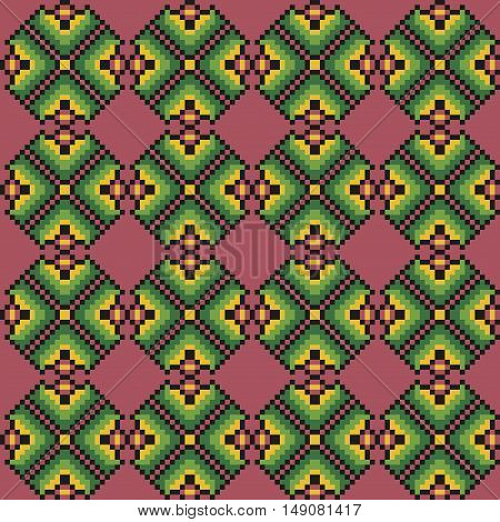 Geometric floral seamless stitching pattern on a pink background. Pixel art. Vector illustration